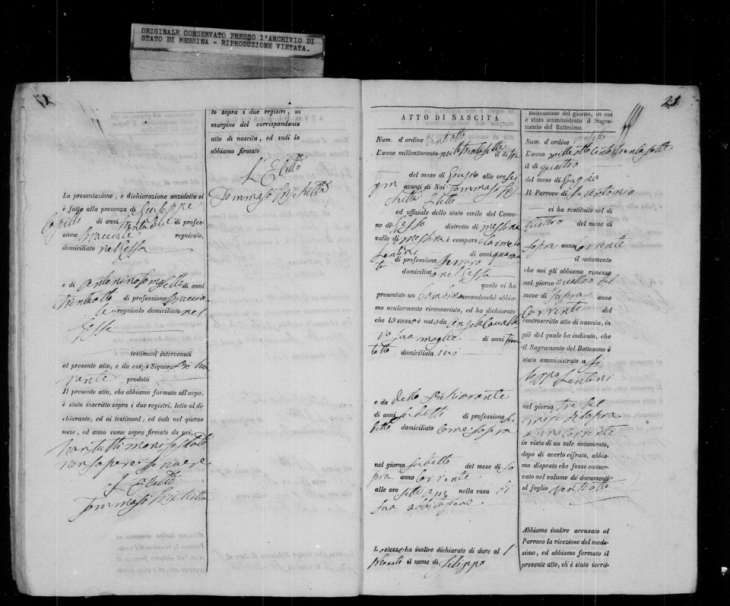 Domenico Birth Record 2